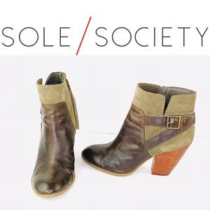 Sole Society Maris Suede Ankle Boots Buckle Accent